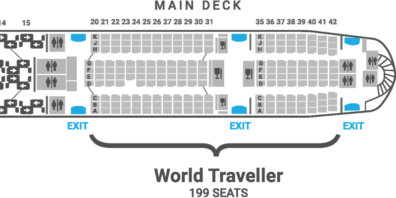 British Airways A380 seat map World Traveller main deck