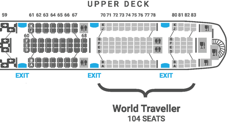 British Airways A380 seat map World Traveller upper deck