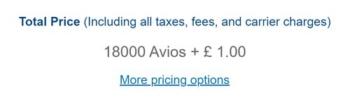 Amsterdam Avios pricing