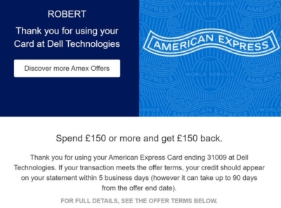 Amex Dell cashback offer