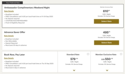 Ambassador benefits at Regent Hotels