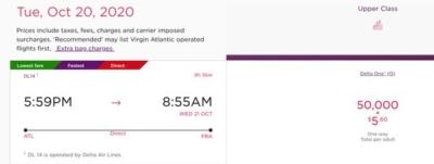 Delta screenshot of Virgin redemption