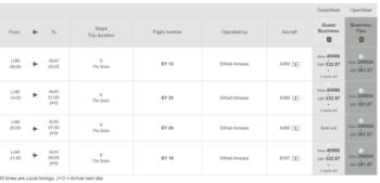 Etihad Guest pricing