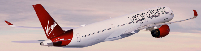 Virgin Atlantic A350 flying into the sunset