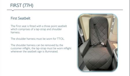 British Airways First class refresh seatbelt