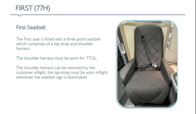 British Airways First class refresh seatbelt First Suite