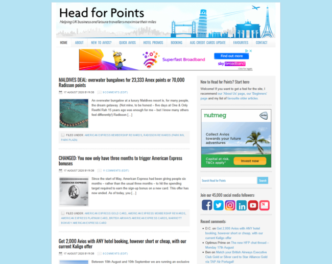 Head for Points old site screenshot