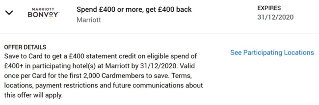 Marriott American Express £400 offer
