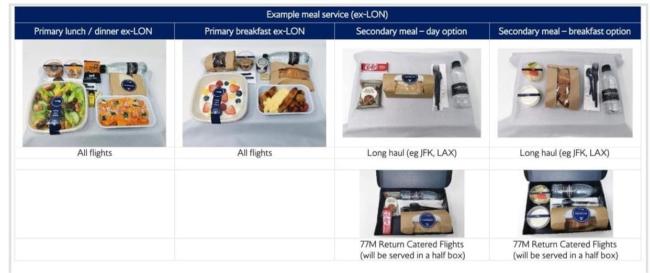 British Airways Club World meal coronavirus