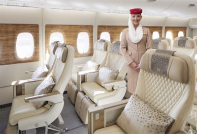 Emirates premium economy cabin