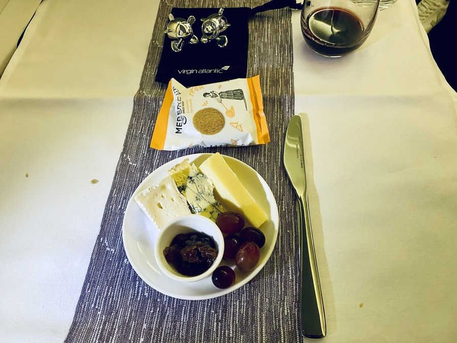 Virgin Atlantic 747 cheese board