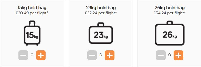 easyJet hold luggage prices Berlin