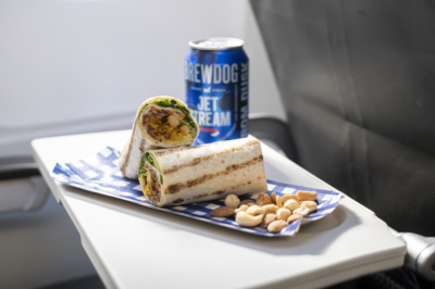 British Airways Eurotraveller Tom Kerridge spiced cauliflower tortilla wrap