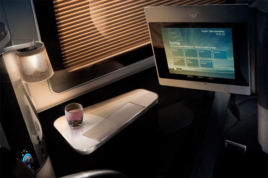 BA British Airways 2010 first class seat screen