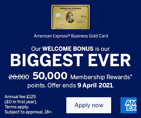 American Express Business Gold Card 50,000 sign-up bonus