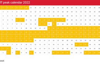 Iberia peak off peak Avios redemption calendar 2022