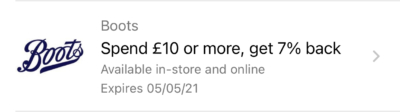 Boots Amex Offer April 2021