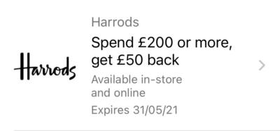 Harrods £200 Amex Offer April 2021