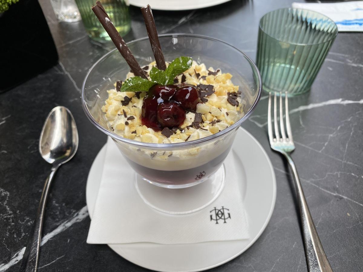 JW Marriott Grosvenor House forecourt cherry trifle