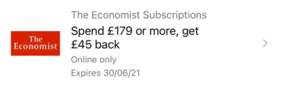 Economist Amex offer