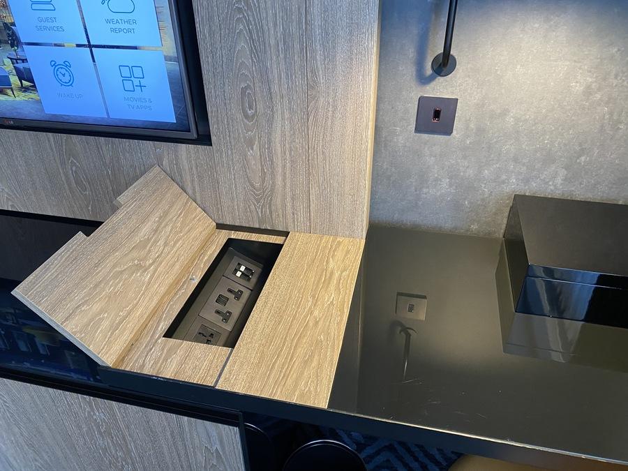 Hilton London Bankside sideboard sockets