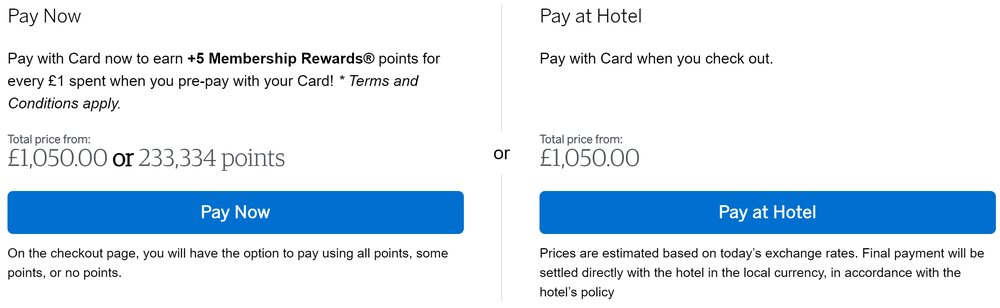 American Express Fine Hotels and Resorts now prepaid bonus points