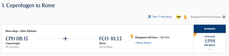 Singapore Airlines Copenhagen to Rome