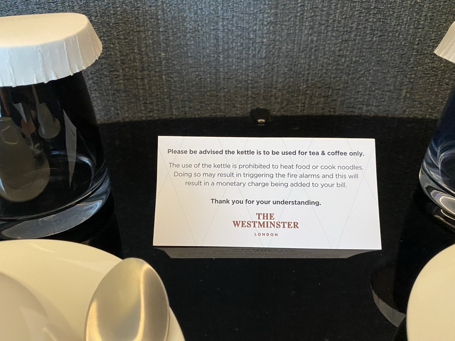 The Westminster London hotel kettle