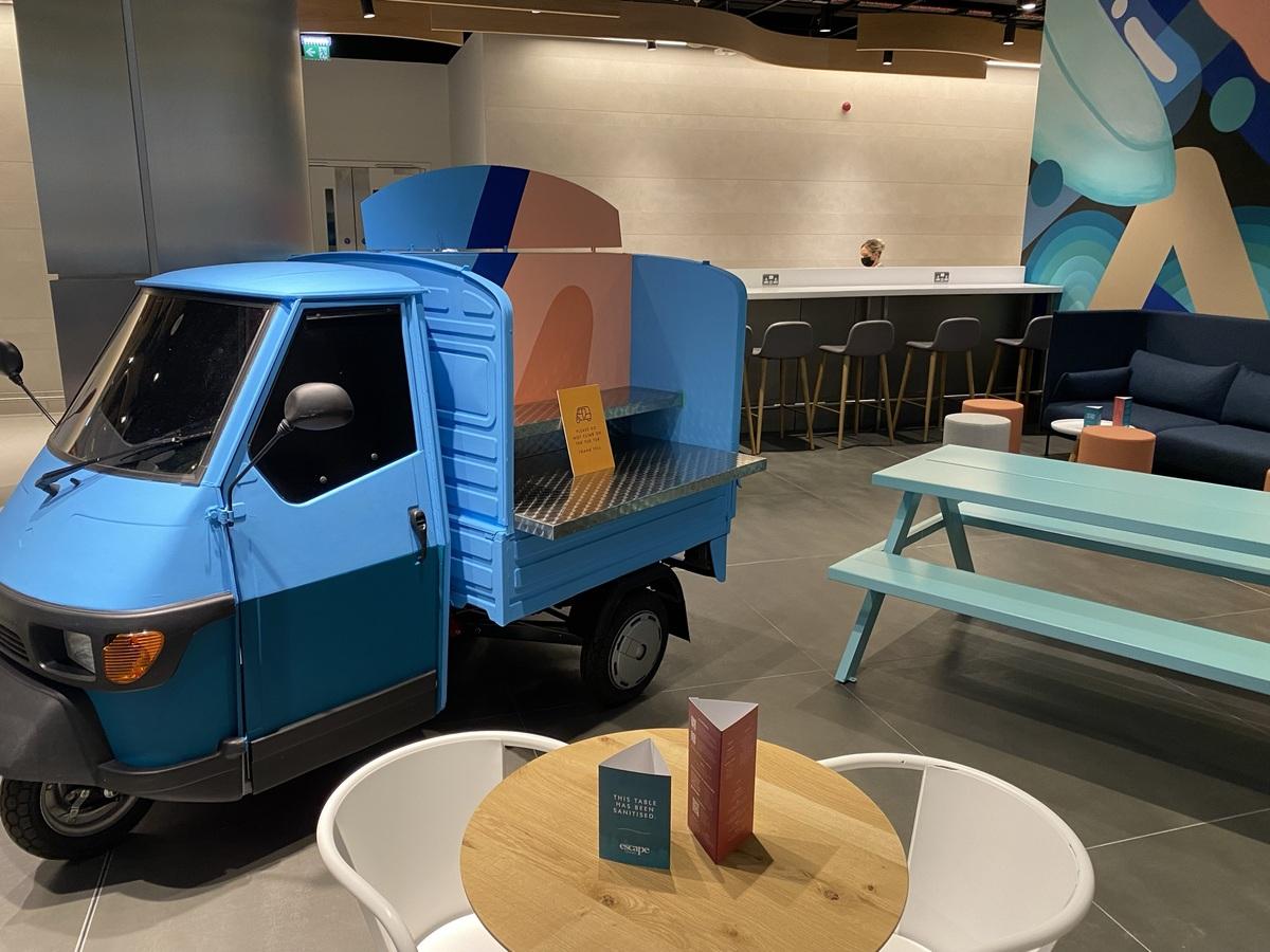 Manchester Airport Escape lounge tuktuk