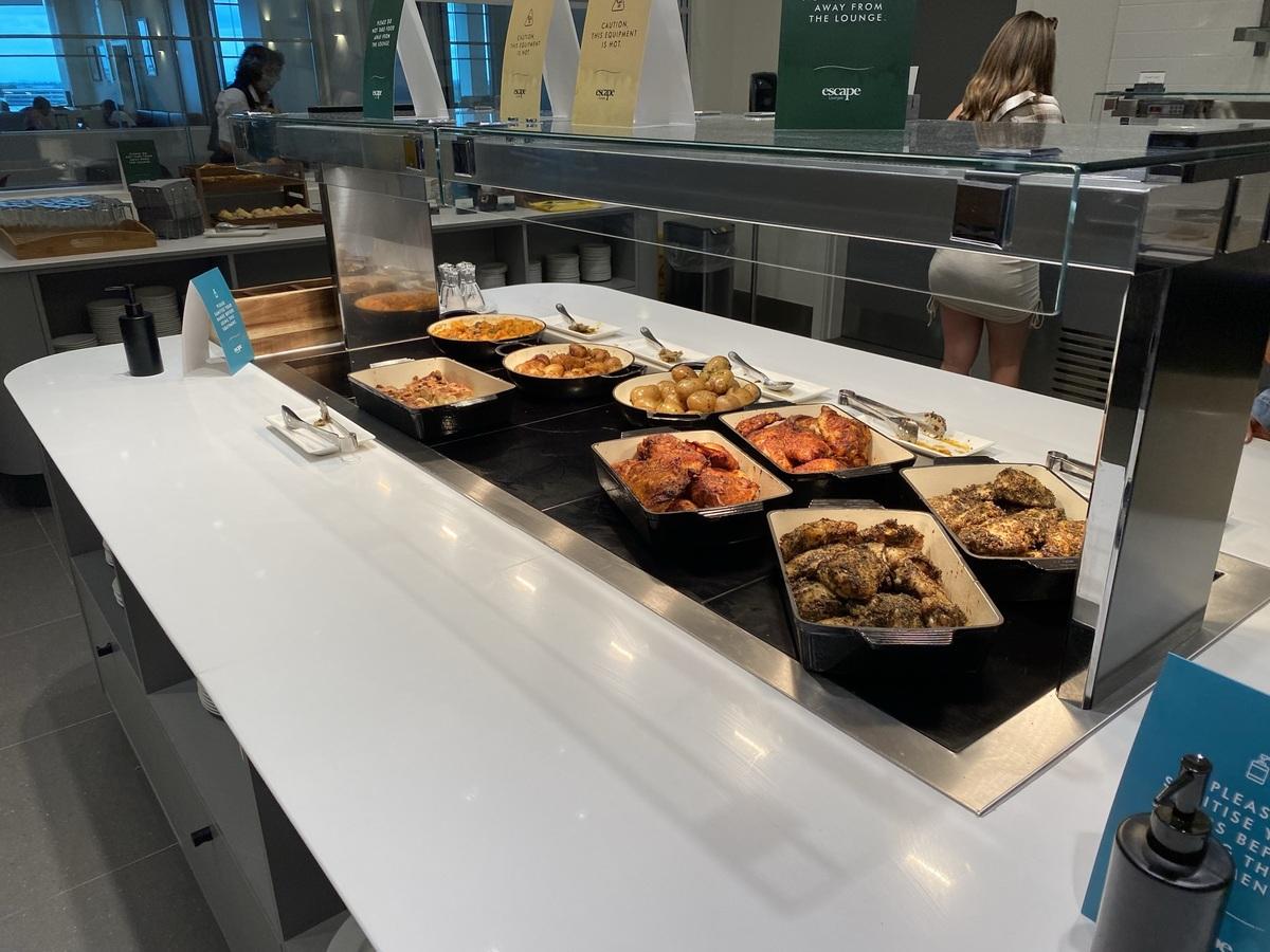 Manchester Airport T2 Escape lounge hot buffet
