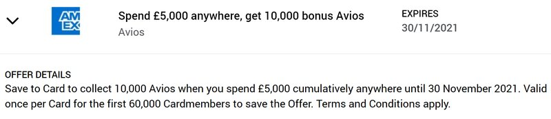 British Airways American Express bonus offer