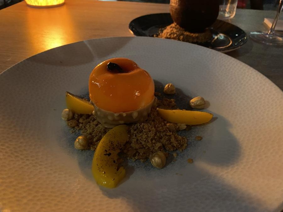 W Barcelona FIRE peach dessert