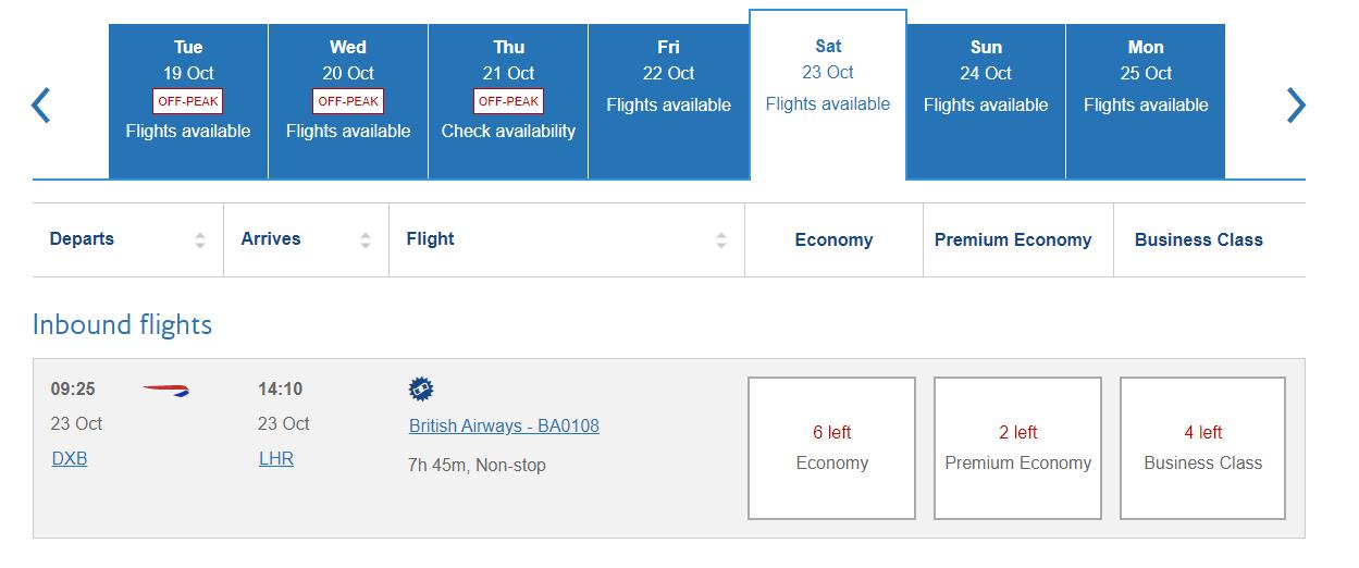 British Airways adds extra Dubai flights