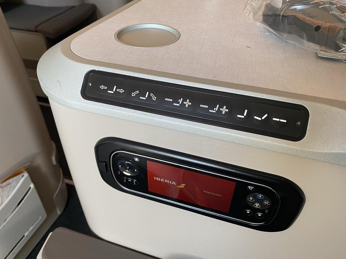 Iberia A350 business class seat controls