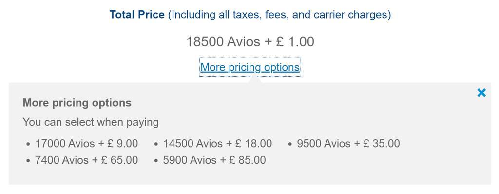 How do Avios 241 vouchers price?