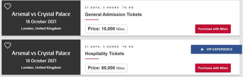 Emirates Skywards miles for Arsenal seats