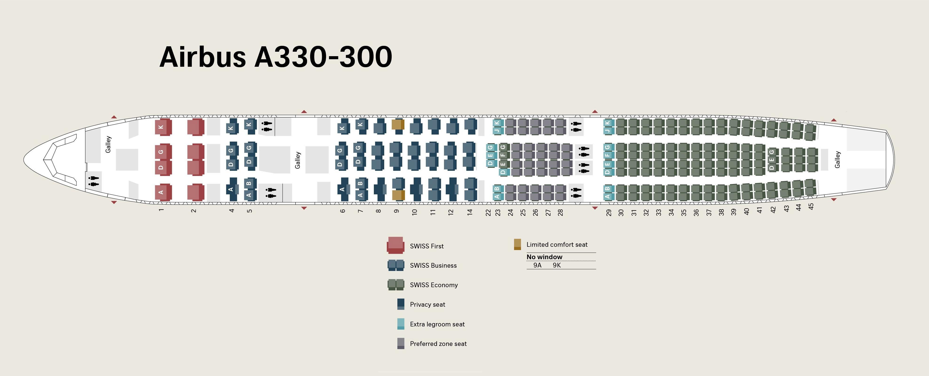 SWISS A330 seat map