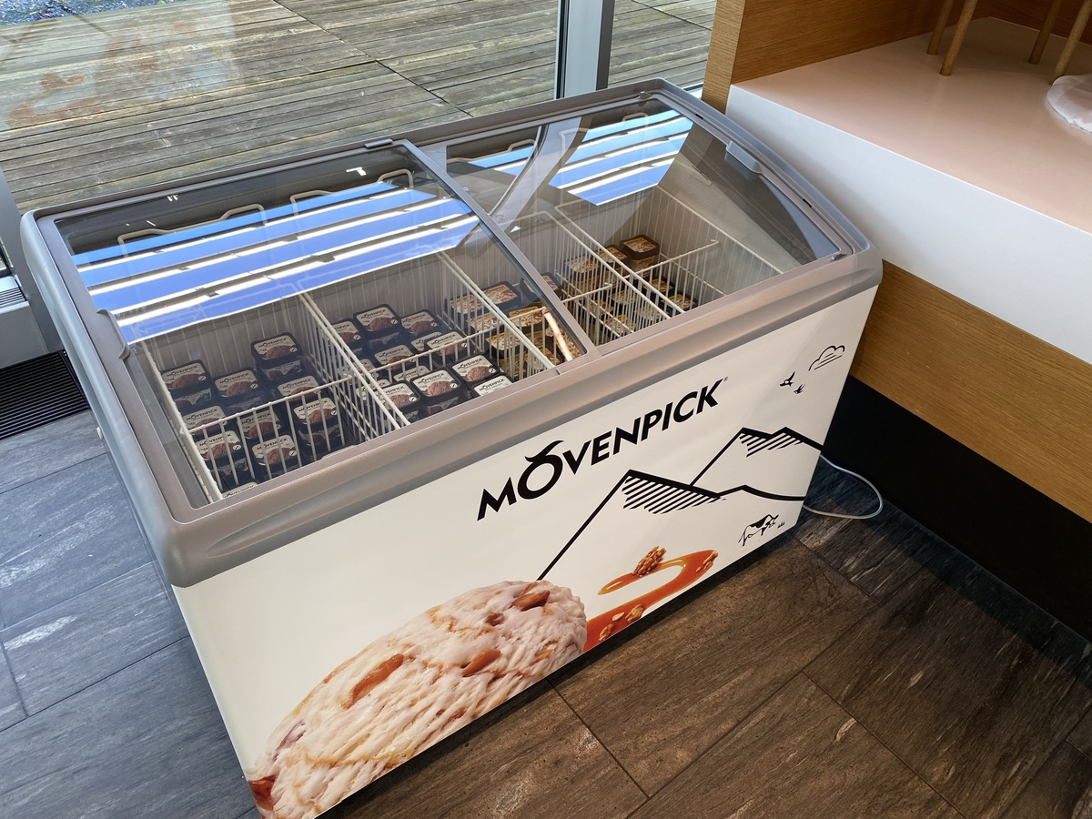 SWISS Senator Lounge Zurich Movenpick icecream