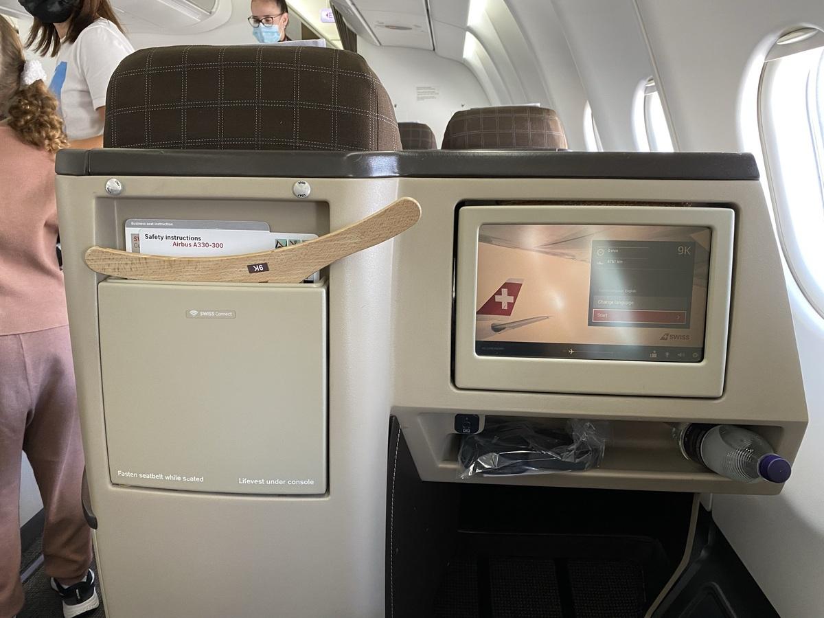 SWISS business class seat back