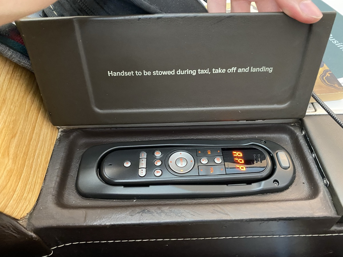 SWISS business class seat remote control